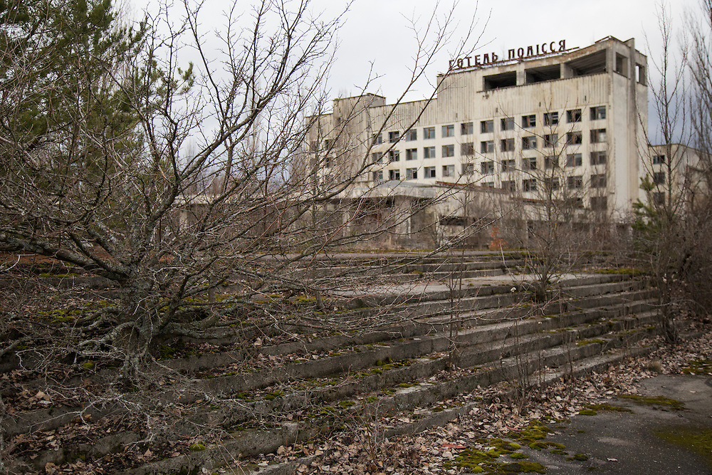 The Polissya Hotel rises on the main square of the abandoned town of Pripyat, built to house the men and women working at the Chernobyl Nuclear Power Plant. The city was abandoned after the disaster on April 26, 1986. CREDIT: John Wendle for The Wall Street Journal<br /> CHERNOBYL