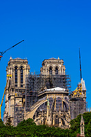 The facade of Notre Dame Cathedral after the May 2019 fire, Paris, France.