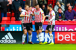 Sheffield United players celebrate the opening goal - Mandatory by-line: Ryan Crockett/JMP - 09/03/2019 - FOOTBALL - Bramall Lane - Sheffield, England - Sheffield United v Rotherham United - Sky Bet Championship