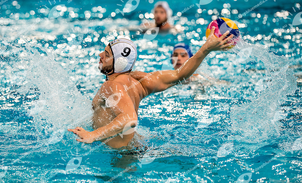 9 Marko STAMM GER <br /> FINA Men's Water polo Olympic Games Qualifications Tournament 2016<br /> semi-final<br /> Germany GER (White) Vs Netherlands NED (Blue)<br /> Trieste, Italy - Swimming Pool Bruno Bianchi<br /> Day 07  09-04-2016<br /> Photo G.Scala/Insidefoto/Deepbluemedia
