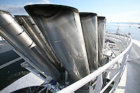 Royal Caribbean International's  Independence of the Seas, the world's largest cruise ship...Onboard feature pictures...View from the top of the funnel