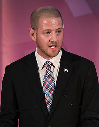 © Licensed to London News Pictures. 28/11/2016. London, UK. UKIP Party Chairman Paul Oakden announces Paul Nuttall as as the new leader of the UK Independence Party (UKIP), at the Emmanuel Centre in Westminster London. Photo credit: Peter Macdiarmid/LNP