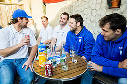 Anze Kopitar of Slovenia, Tomaz Razingar of Slovenia, Ziga Pance of Slovenia and Ales Kranjc of Slovenia of Slovenian Ice Hockey National Team at meeting with their supporters at day off during 2015 IIHF World Championship, on May 9, 2015 in Restaurant Zadni Vratka, Stodolni Street, Ostrava, Czech Republic. Photo by Vid Ponikvar / Sportida
