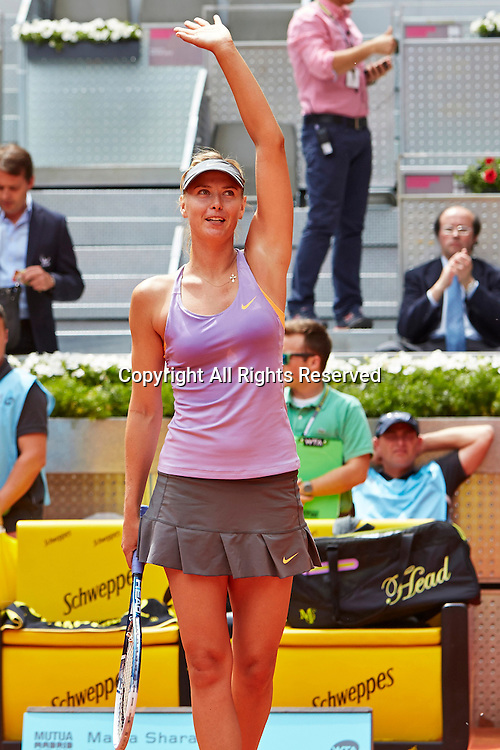 06.05.2014 Madrid, Spain. Maria Sharapova of Russia greets the crowd after his victory over Christina Mchale of USA with on day 3 of the Madrid Open from La Caja Magica.