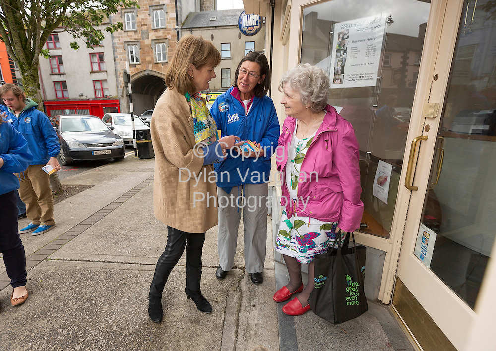8/5/14<br /> <br /> Deirdre Clune pictured canvassing in Clonmel Co.Tipperary.<br /> Also in the picture is Marie Connery (centre) and Eibhlin Ni Arta Chuana from An Rinn in Waterford (right).<br /> Picture Dylan Vaughan.