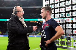 George Ford of England is interviewed after the match - Mandatory byline: Patrick Khachfe/JMP - 07966 386802 - 19/11/2016 - RUGBY UNION - Twickenham Stadium - London, England - England v Fiji - Old Mutual Wealth Series.