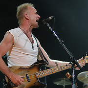 Sting plays as The Police open their 2007 World Tour at The Key Arena in Seattle on 6/6/07.  It was the first time they played in the US since 1983.