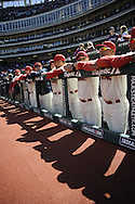 CLEVELAND, OH USA - APRIL 5: The Indians wait to take the field before the game between the Cleveland Indians and Toronto Blue Jays at Progressive Field in Cleveland, OH, USA on Thursday, April 5, 2012.