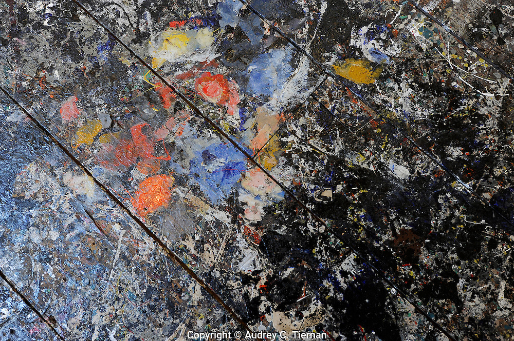 Easthampton, NY:  Monday, October 29, 2010-- The barn and floor of  artist Jackson Pollock and his wife Lee Krasner's home which Pollock used as his studio. This is a detail of paint splatter on the floor which was created as Pollock painted.    ©Audrey C. Tiernan