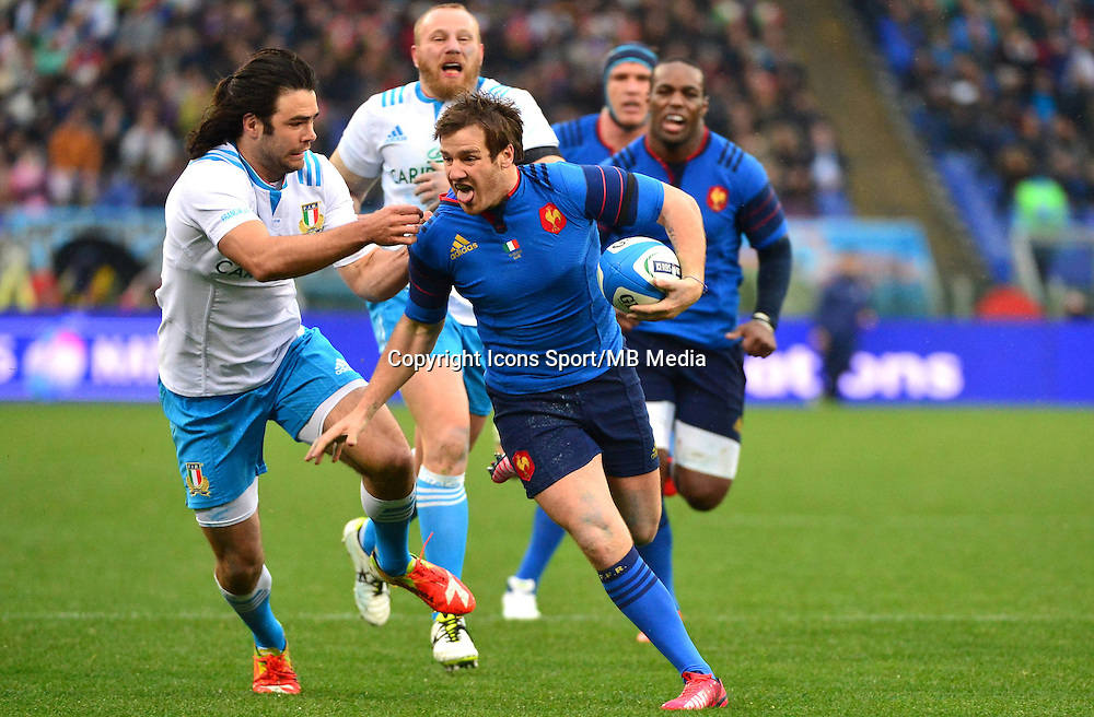 Camille LOPEZ / Luke McLEAN - 15.03.2015 - Rugby - Italie / France - Tournoi des VI Nations -Rome<br /> Photo : David Winter / Icon Sport