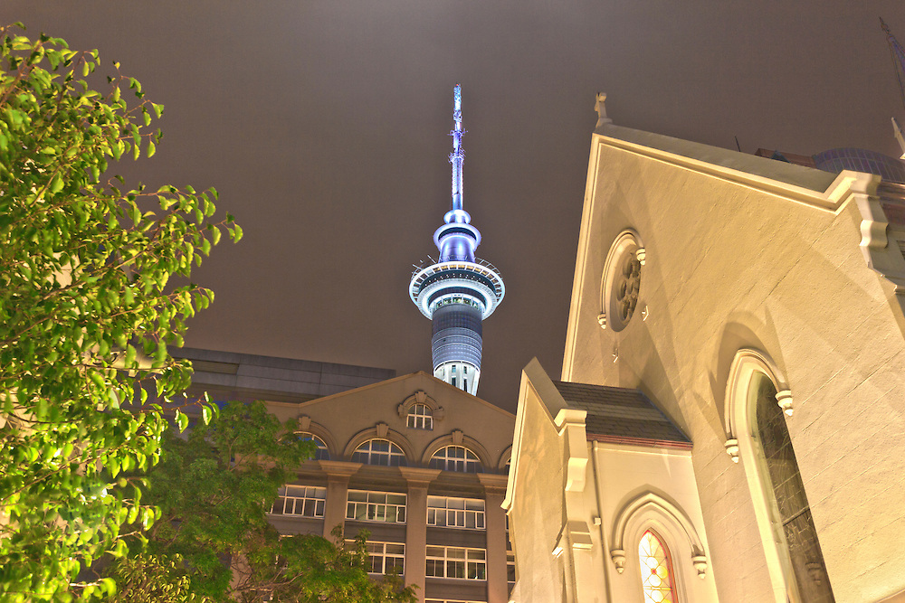 st patricks church with sky tower on background