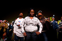 Barack Obama supporters watch as poll numbers were being announced as supporters take to Chicago's Grant Park for the election night results for the presidential race between Sen. Barak Obama (D-IL) and Sen. John McCain (R-AZ) Tuesday Nov. 4, 2008 Chicago IL.