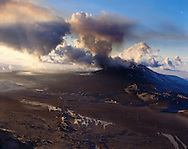 Hekla, eldgos 1991. Loftmynd.Hekla volcanic eruption 1991. Aerial viewing south.