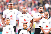 The Fijians belt out their national anthem during the Autumn International Series match between England and Fiji at Twickenham, Richmond, United Kingdom on 19 November 2016. Photo by Ian  Muir.