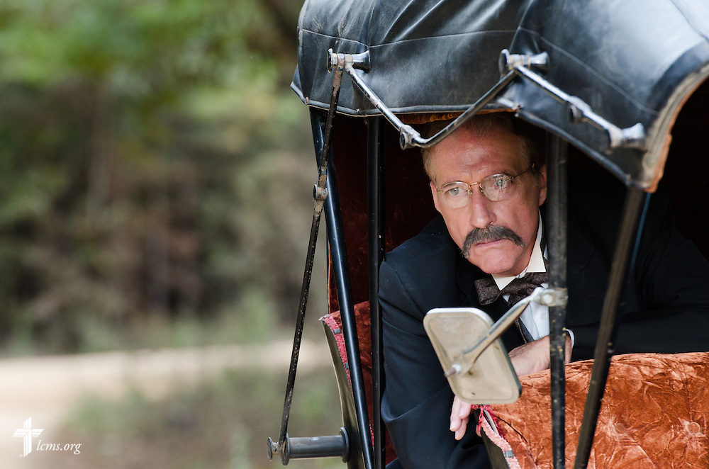 Actor Greg Thornton, performing the role of Lutheran missionary Nils J. Bakke, looks out from a horse buggy during the final day of filming for 'The First Rosa' documentary on Thursday, September 25, 2014, near Selma, Ala. LCMS Communications/Erik M. Lunsford