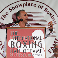 "CANASTOTA, NY - JUNE 14: Ray ""Boom Boom"" Mancini speaks to the crowd during the induction ceremony at the International Boxing Hall of Fame induction Weekend of Champions events on June 14, 2015 in Canastota, New York. (Photo by Alex Menendez/Getty Images) *** Local Caption *** Ray ""Boom Boom"" Mancini"