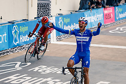 Victory for Philippe Gilbert (BEL) of Deceuninck - Quick Step (BEL,WT,Specialized) and 2nd Nils Politt (GER) of Team Katusha - Alpecin (SUI,WT,Canyon) during the 2019 Paris-Roubaix (1.UWT) with 257 km racing from Compiègne to Roubaix, France. 14th April 2019. Picture: Thomas van Bracht | Peloton Photos<br /> <br /> All photos usage must carry mandatory copyright credit (Peloton Photos | Thomas van Bracht)