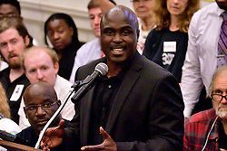 Activist and journalist Solomon Jones gives a testimony on controversial social media posts by officers with the Philadelphia Police Department at City Council, in Philadelphia, PA, on June 20, 2019. Commissioner Richard Ross announced that 72 officers were taken off streets duty after an investigation by the Pain View Project showed racist posts by more than 300 (active and retired) police officers.