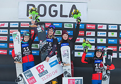 1st. Hofmeister Ramona Theresia, 2nd. Schoeffmann Sabine, 3th. Alena Zavarzina, 4th. Ulbing Daniela during trophy ceremony after the woman's Snowboard giant slalom of the FIS Snowboard World Cup 2017/18 in Rogla, Slovenia, on January 21, 2018. Photo by Urban Meglic / Sportida