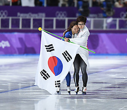PYEONGCHANG, Feb. 18, 2018  Japan's Nao Kodaira (R) and South Korea's Lee Sang-Hwa celebrate after finishing ladies' 500m final of speed skating at the 2018 PyeongChang Winter Olympic Games at Gangneung Oval, Gangneung, South Korea, Feb. 18, 2018. Nao Kodaira claimed champion in a time of 36.94 and set a new Olympic record while Lee Sang-Hwa ranked 2nd in a time of 37.33. (Credit Image: © Wang Song/Xinhua via ZUMA Wire)