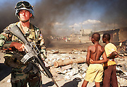 12 FEBRUARY 1996, PORT AU PRINCE, HAITI: US peacekeeping soldier assigned to the UN mission in Haiti on patrol in the port area of Port au Prince, Haiti, February, 1996.  PHOTO BY JACK KURTZ