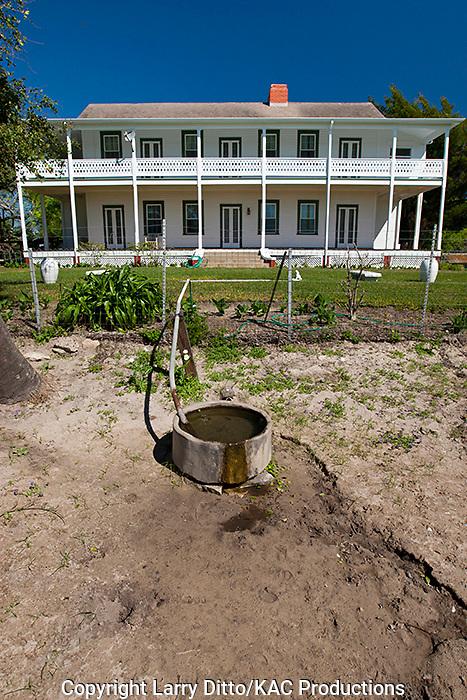 Ranch house on historic Kennedy Ranch at Sarita, Texas, spring