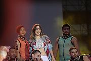 La cantante Belinda se presentó en el estadio Azteca el 27 de junio de 2018, con motivo del cierre de campaña de Andrés Manuel López Obrador.