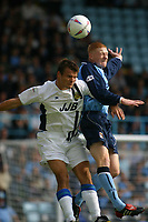 Photo: Jo Caird<br /> Coventry City v Wigan Athletic<br /> Nationwide Football League Div 1<br /> 27/09/2003.<br /> <br />  Lee McCulloch (Wigan) Andrew Whing (Coventry)