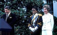 A 27MG IMAGE OF:.President Reagan Nancy Reagan and Michael Jackson on the South Lawn of the White House in May 1984..Photograph by Dennis Brack BS B14