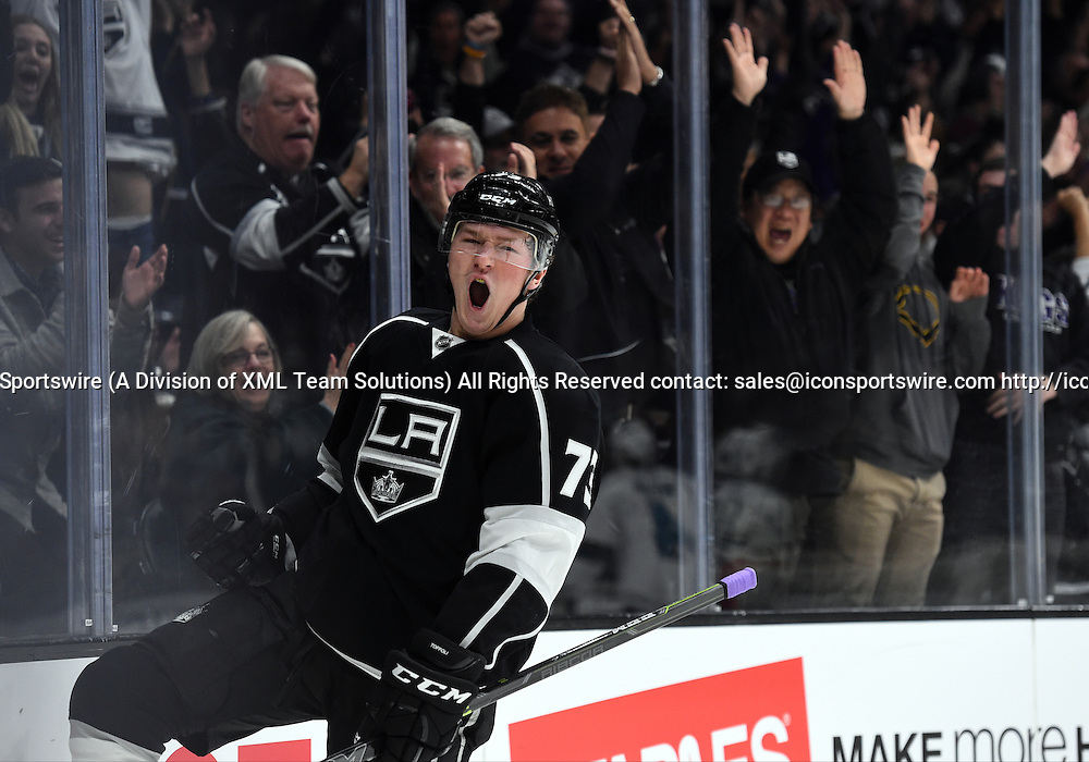 27 December 2014: Los Angeles Kings Right Wing Tyler Toffoli (73) [8400] celebrates after scoring a goal in the first period during an NHL game between the San Jose Sharks and the Los Angeles Kings at STAPLES Center in Los Angeles, CA.
