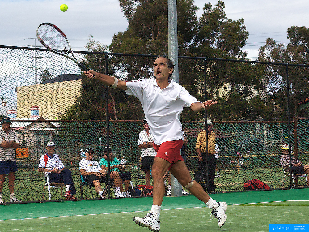 Jorge Camina Borda, Spain in action against USA  in the Von Cramm Cup Final during the 2009 ITF Super-Seniors World Team and Individual Championships at Perth, Western Australia, between 2-15th November, 2009.