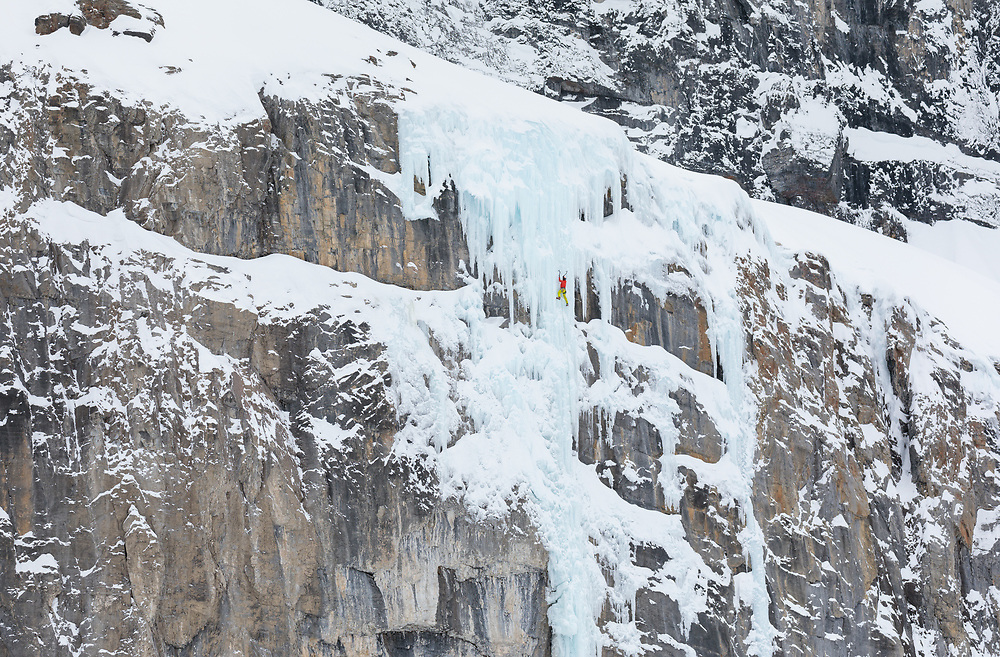 Jon Walsh Climbing the ice on the final pitch of Scar Tissue, M7+ Storm Creek, BC
