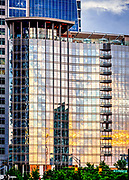 Sunset architectural abstract view of the Kimpton Tryon Park Hotel in Uptown Charlotte, North Carolina