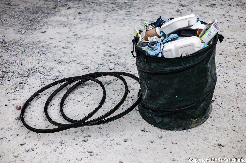 Nevis Range, Fort William, Scottish Highlands, UK. 15th May 2016. Used essentials wait for refuse collection at the British Downhill Series on Nevis Range in the Scottish Highlands.