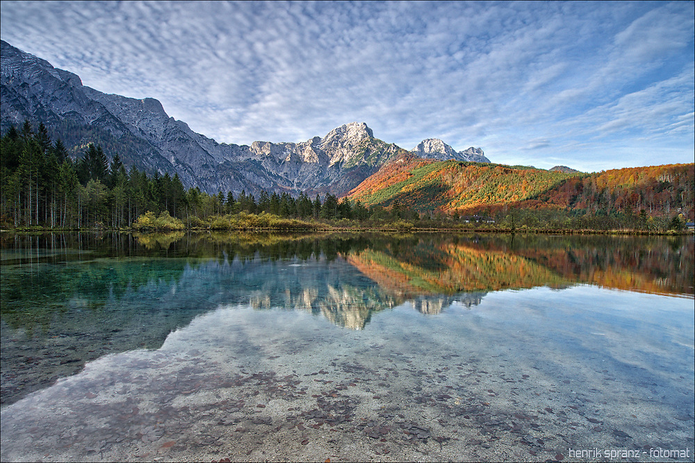 The Almsee in Upper Austria - this time with a beautiful sky instead of the morning mist...