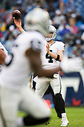 NASHVILLE, TN - NOVEMBER 29:  Derek Carr #4 of the Oakland Raiders throws a pass during a game against the Tennessee Titans at Nissan Stadium on November 29, 2015 in Nashville, Tennessee.  The Raiders defeated the Titans 24-21.  (Photo by Wesley Hitt/Getty Images) *** Local Caption *** Derek Carr