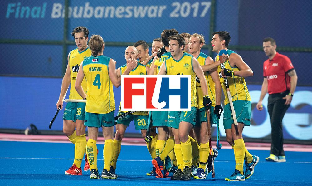 Odisha Men's Hockey World League Final Bhubaneswar 2017<br /> Match id:05<br /> 05 GER v AUS (Pool B)<br /> Foto:  Australian celebrati&euml;n for 1-2<br /> WORLDSPORTPICS COPYRIGHT FRANK UIJLENBROEK