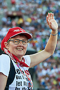 Danish Special Olympics Team during opening ceremony of the Special Olympics World Games Los Angeles 2015 at the Los Angeles Coliseum Stadium on July 25, 2015 in Los Angeles, USA.<br /> USA, Los Angeles, July 25, 2015<br /> <br /> Picture also available in RAW (NEF) or TIFF format on special request.<br /> <br /> For editorial use only. Any commercial or promotional use requires permission.<br /> <br /> Adam Nurkiewicz declares that he has no rights to the image of people at the photographs of his authorship.<br /> <br /> Mandatory credit:<br /> Photo by &copy; Adam Nurkiewicz / Mediasport