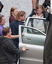 """Brad Pitt and co-stars on the set of the movie """"World War Z"""" being shot in the city centre of Glasgow. The film, which is set in Philadelphia, is being shot in various parts of Glasgow, transforming it to shoot the post apocalyptic zombie film."""
