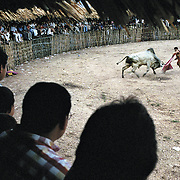 a matador faces the bull at a rodeo in Villalodid in Mexico
