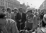 Calor/Kosangas Pro-Am Cycle Race.   (P85)..1984..01.05.1984..05.01.1984..1st May 1984..The Calor/Kosangas Pro-Am tour of Ireland cycle race set off from the G.P.O.in Dublin today...Image shows race organisers chatting with the riders before the start of the tour.