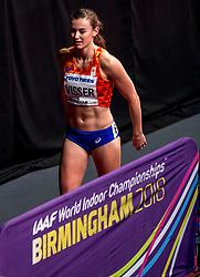03-03-2018 GBR: World Indoor Championships Athletics day 3, Birmingham<br /> Nadine Visser heeft bij de WK indoor de finale van de 60 meter horden weten te bereiken. Visser maakte indruk door in de halve finales haar serie met een toptijd van 7,83 te winnen en ook het stokoude Nederlands record te verbeteren.
