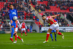 Liam Shephard of Peterborough United blocks a shot by Richie Towell of Rotherham United - Mandatory by-line: Ryan Crockett/JMP - 30/03/2018 - FOOTBALL - Aesseal New York Stadium - Rotherham, England - Rotherham United v Peterborough United - Sky Bet League One