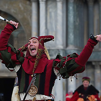 VENICE, ITALY - FEBRUARY 11:  A man in costume is seen during the traditional parade for the Festa delle Marie in St Mark's Square on February 11, 2012 in Venice, Italy.The annual festival, which lasts nearly three weeks, will see the streets and canals of Venice filled with people wearing highly-decorative and imaginative carnival costumes and masks.
