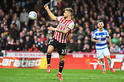 Brentford Midfielder Emiliano Marcondes (17) in action during the EFL Sky Bet Championship match between Brentford and Queens Park Rangers at Griffin Park, London, England on 2 March 2019.