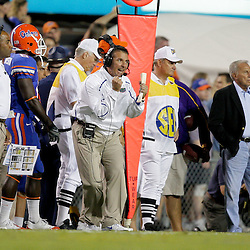 Oct 10, 2009; Baton Rouge, LA, USA; Florida Gators head coach Urban Myer reacts on the sideline during the first quarter at Tiger Stadium. Mandatory Credit: Derick E. Hingle-US PRESSWIRE