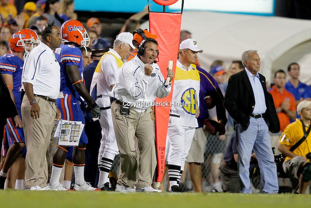 Oct 10, 2009; Baton Rouge, LA, USA; Florida Gators head coach Urban Myer reacts on the sideline during the first quarter at Tiger Stadium. Mandatory Credit: Derick E. Hingle-US PRESSWIRE