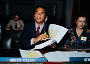 Andrew J. Young, United States Ambassador to the United Nations during the Carter administration at his desk at the U.N. in New York, N.Y.