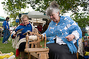 Celia Lyons Ballyhaunis and Patricia Kirwan Dolye Connemara spinning some wool at the Market day in Clarinbridge  marking the start of the weeklong Oyster festival celebrations with the highlight next weekend  Photo:Andrew Downes