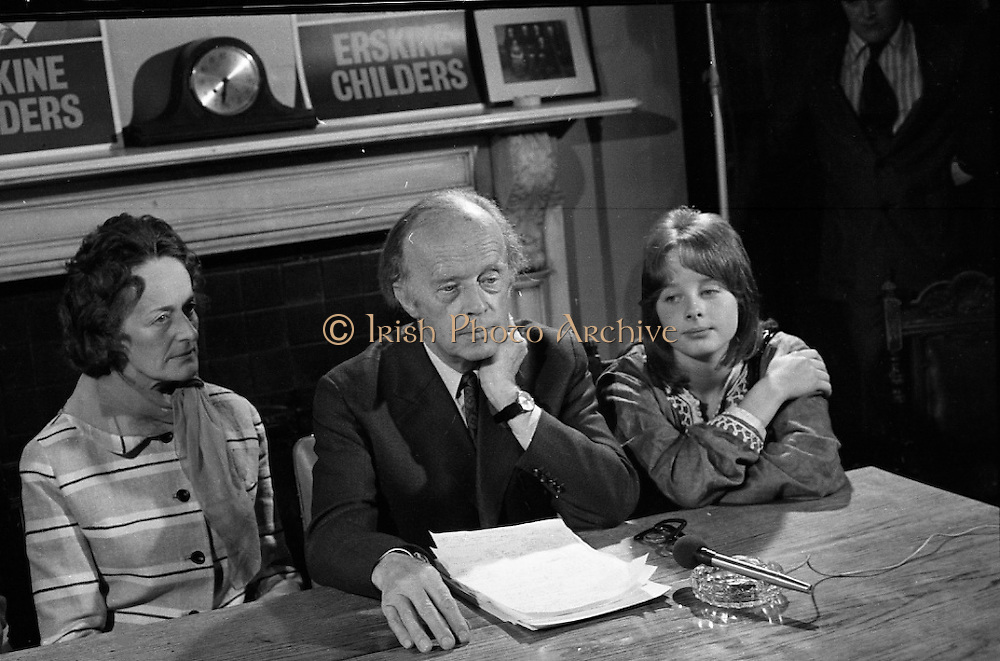 Erskine Childers Press Conference..1973..31.05.1973..05.31.1973..31st May 1973..At a press conference at Fianna Fail headquarters, Mr Erskine Childers, was confirmed as the winner of the presidential campaign. He won by a margin of 52% to 48% beating the favourite Tom O'Higgins,Fine Gael..A Childers family portrait as President Elect, Childers, takes questions from the floor.